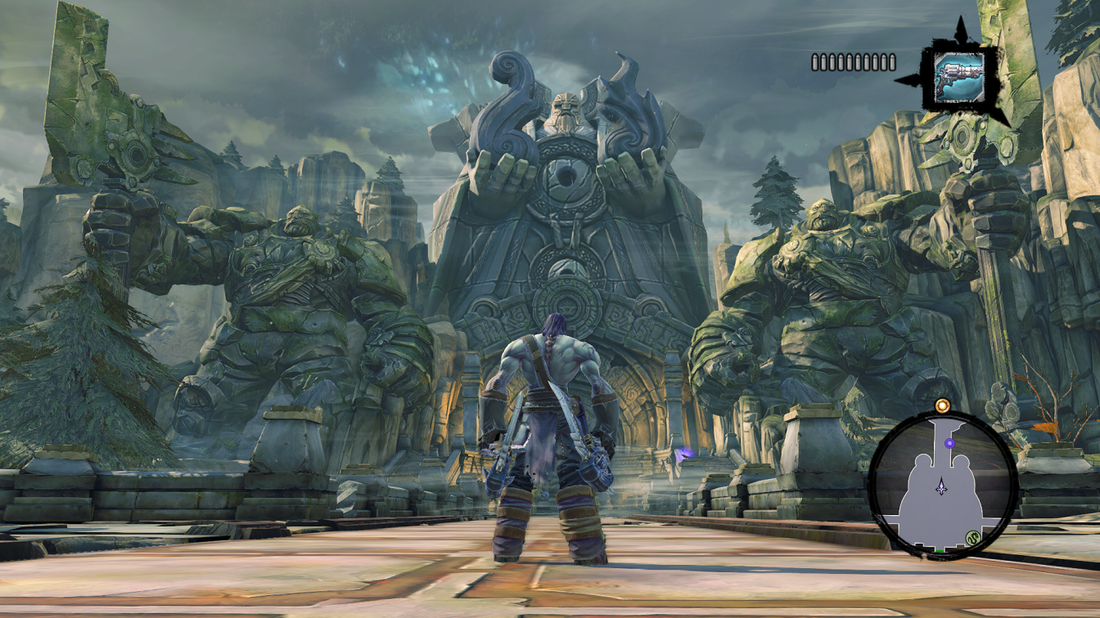 Darksiders 2: Deathinitive Edition - Death's initial quest to redeem his brother War takes him to numerous locales, including the land of the Makers; a race of Scottish-sounding giants with a thing for stone-carving and building REALLY big statues.